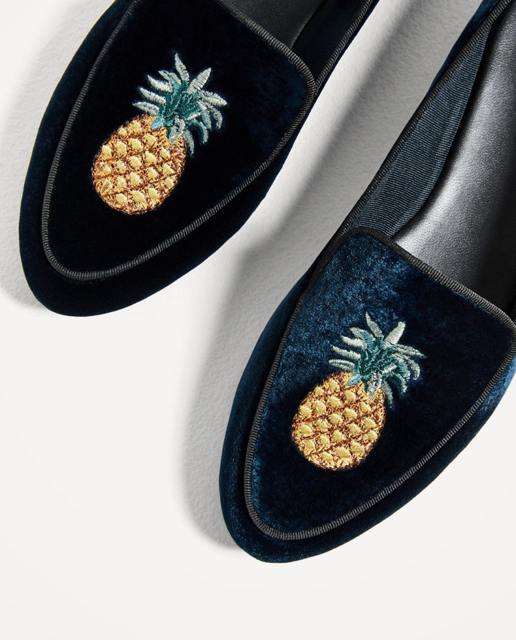 Zara flat velvet shoes with embroidery detail
