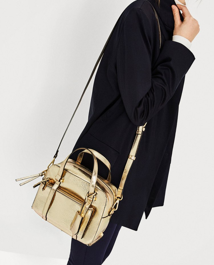 zara mini golden bowling bag