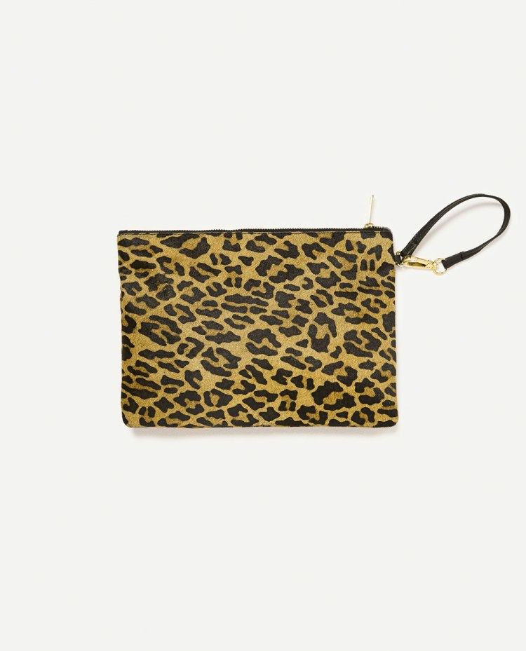 Zara leopard print clutch bag