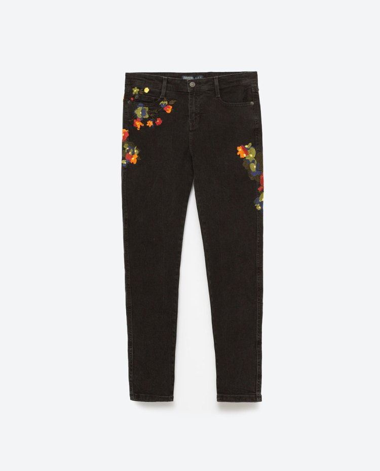 zara embroidered skinny jeans