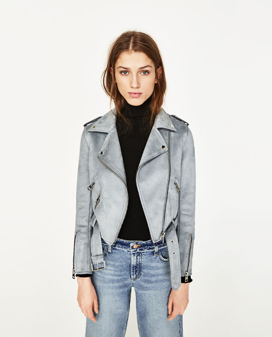 zara suede-effect zip up jacket